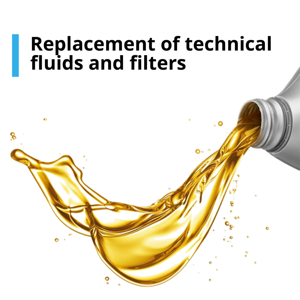 Replacement of technical fluids and filters